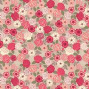 Lewis & Irene Flo's Wildflowers - 5432 - Wild Roses, Raspberry on Pale Grey - FLO9.4 - Cotton Fabric